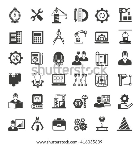 engineering and manufacturing icons, engineering icons set, project engineer icons - stock vector