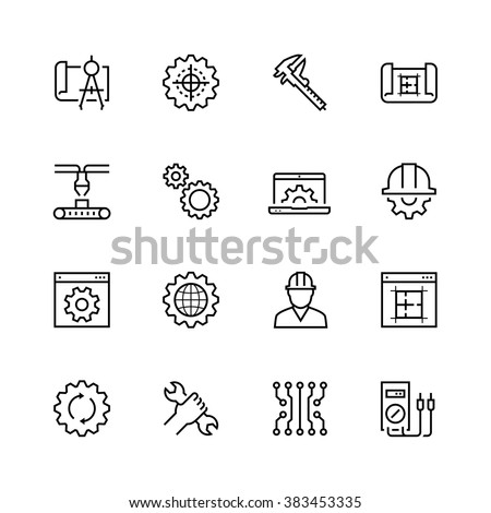 Engineering and manufacturing vector icon set in thin line style - stock vector