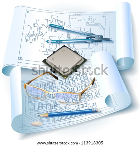 Engineering background with a circuit board, rolls of drawings and drawing tools