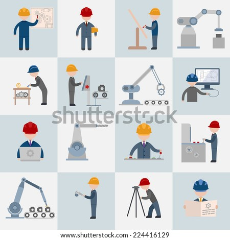 Engineering construction worker machine operator mechanic flat icons set isolated vector illustration - stock vector