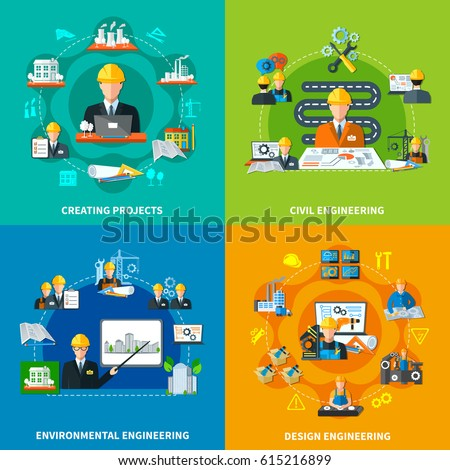 Engineering design concept with round compositions of maintenance signs worker characters construction and projection flat icons vector illustration