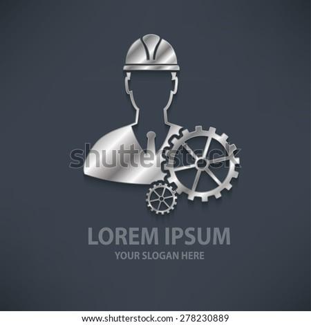 Engineering design logo template silver metal concept design clean