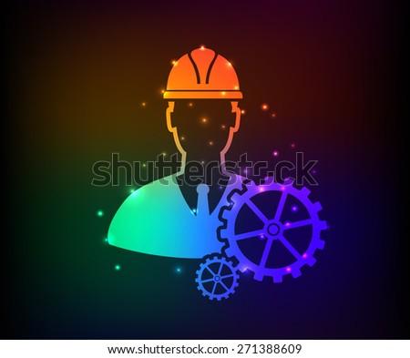 Engineering design on rainbow concept background,clean vector - stock vector