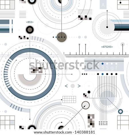 Engineering draft seamless pattern, geometric vector wallpaper or website background. - stock vector