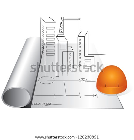 engineering drawing and helmet, construction  project,construction management - stock vector
