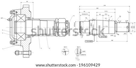 Engineering drawing of bearing on shaft. Vector format - stock vector