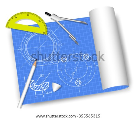 Engineering drawings with protractor, pencil,  drawing compass, pencil eraser - stock vector