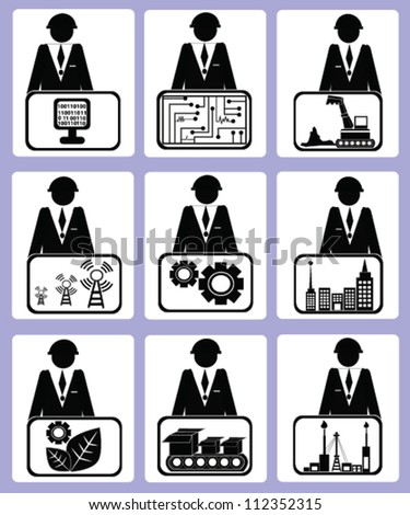 Engineering icon set,Computer sign,gear sign,industry sign,Vector - stock vector