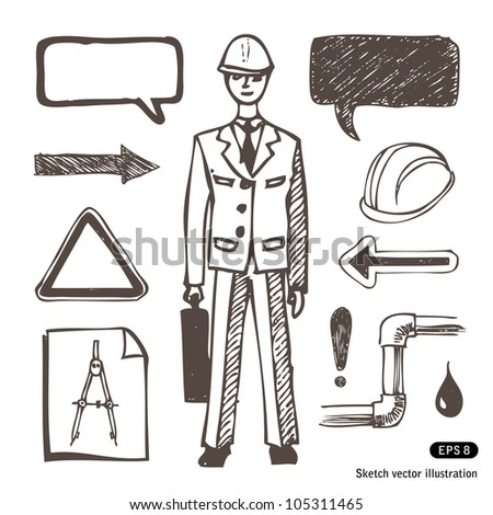 Engineering icons set. Hand drawn sketch illustration isolated on white background - stock vector