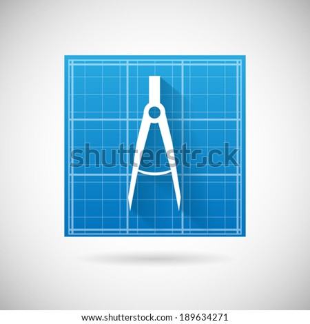 Engineering Planning Symbol Blueprint and Compass Divider Icon Design Template Vector Illustration - stock vector