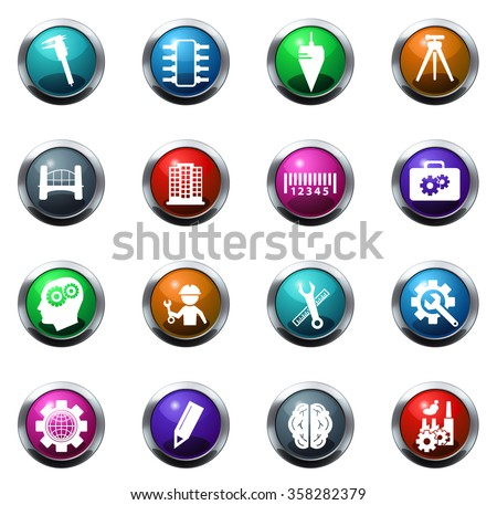 Engineering round glossy web icon set