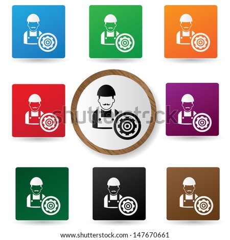 Engineering sign on colorful buttons,vector - stock vector