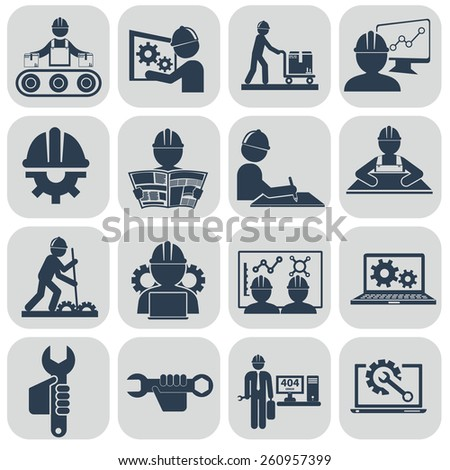 Engineering vector icons set on gray. - stock vector