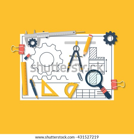 Engineering vector illustration flat design. Architectural project. Drawing tools. Blueprint  technical. - stock vector