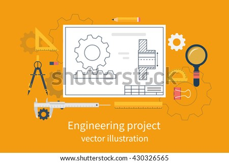 Engineering vector illustration flat design. Architectural project. Engineering project. Drawing tools. Blueprint  technical. - stock vector