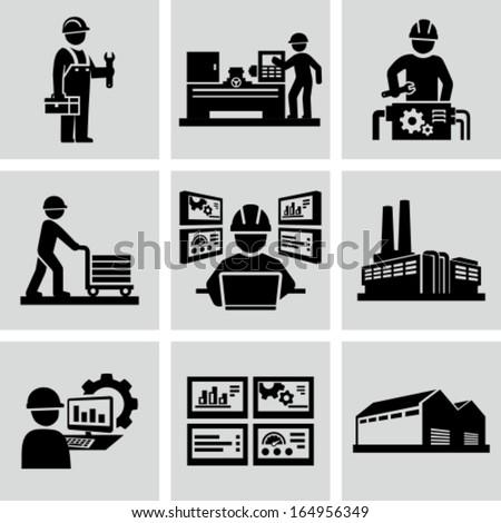 Engineering workshop. Industrial operation. Factory workers. - stock vector