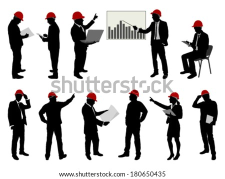 engineers with hard hat silhouettes - stock vector