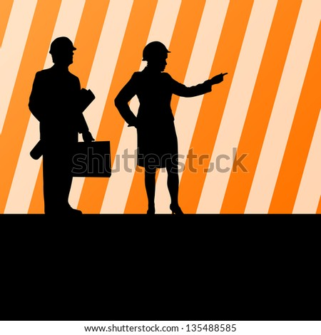 Engineers woman and man in helmets vector background - stock vector