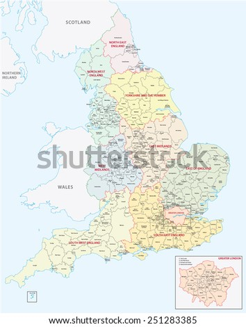 england administrative map - stock vector