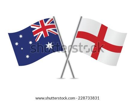 England and Australian flags. Vector illustration. - stock vector