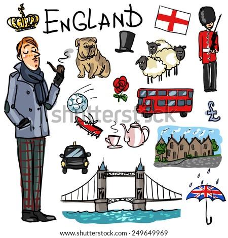 England cartoon collection - stock vector