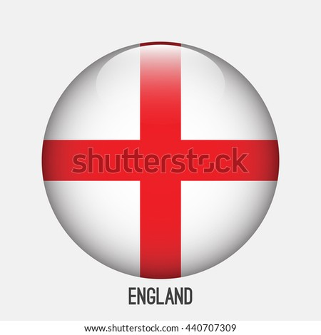 England flag in circle shape. Transparent,glossy,glass button - stock vector