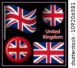 england graphic set against black background; image contains transparency - stock vector