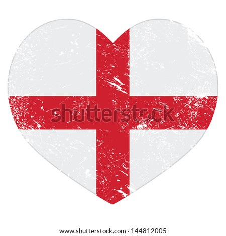 England heart retro flag - stock vector