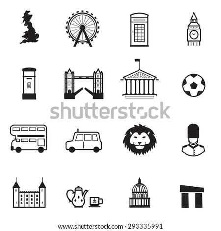 England icons - stock vector