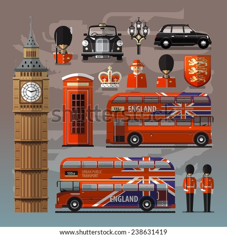 England, London, UK. Collection of color icons. Vector illustration - stock vector