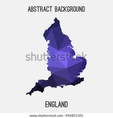 England map in geometric polygonal,mosaic style.Abstract tessellation,modern design background. Vector illustration EPS8 - stock vector