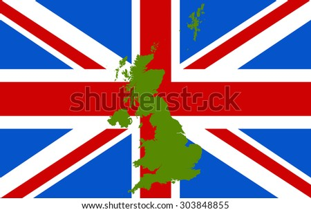 England map on a flag background - stock vector