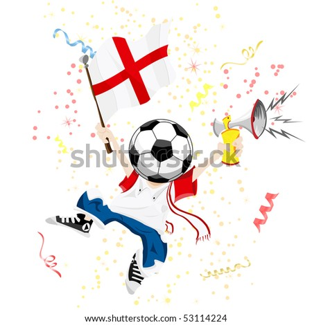 England Soccer Fan with Ball Head. Editable Vector Illustration - stock vector
