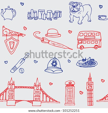 England symbols icons seamless pattern - stock vector