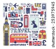 England travel set. Vector. - stock vector