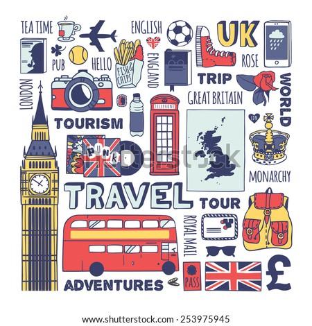 England travel set. Vector. - stock vector