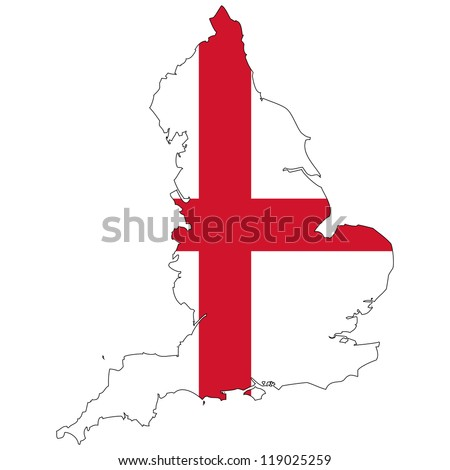 England vector map with the flag inside. - stock vector