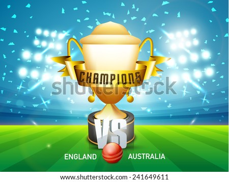 England Vs Australia Cricket match concept with red ball, golden winning trophy and ribbon shining in stadium lights. - stock vector