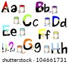 English alphabet A-H. Not fully painted letters with paint dripping, brushes and paint cans. Vector illustration. - stock vector
