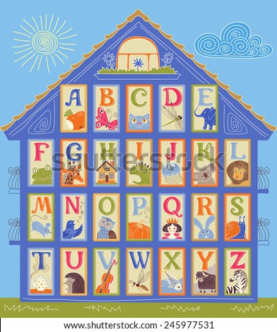 English Alphabet cards in a shape of the house. Letters and drawings. ABC print. - stock vector