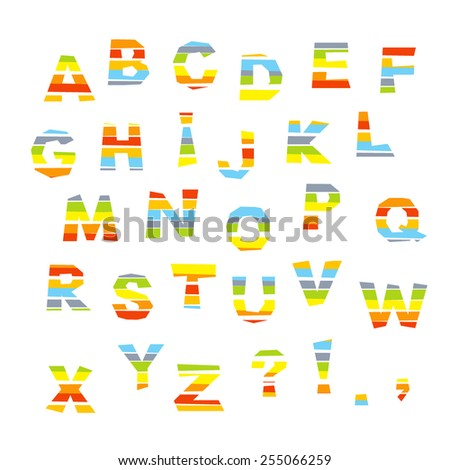 english alphabet, colorful letter cutout on white background,  vector illustration - stock vector