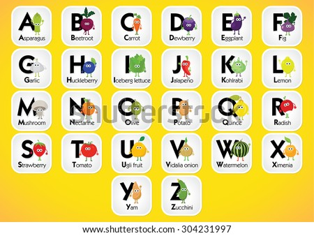 english alphabet for kids with fruits and vegetables back to school learning english food - Alphabet Pictures For Kids