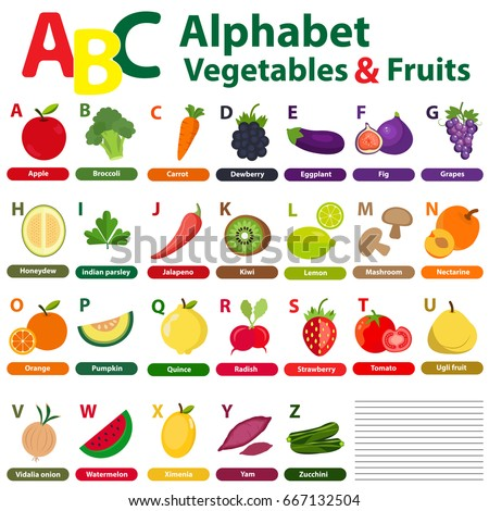 Fruit And Vegetables Beginning With Each Letter Of The Alphabet