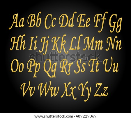 English alphabet, signs and symbols, metal gold, isolated on black background
