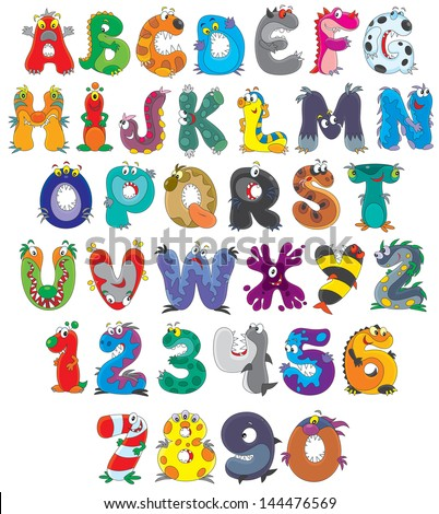 English alphabet with funny monsters - stock vector