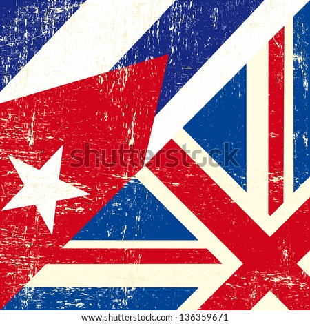 English and cuban grunge Flag. this flag represents the relationship between european UK and Cuba