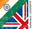 English and india grunge Flag. this flag represents the relationship between UK union and India - stock
