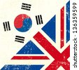 English and south Korean grunge Flag. this flag represents the relationship between UK and the South Korea - stock