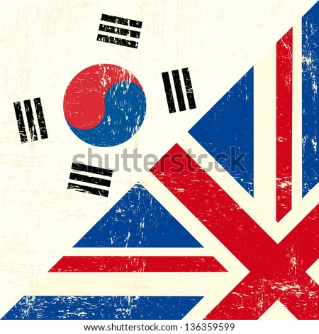 English and south Korean grunge Flag. this flag represents the relationship between UK and the South Korea