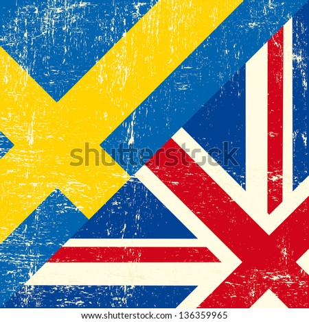 English and sweden grunge Flag. this flag represents the relationship  between UK and Sweden